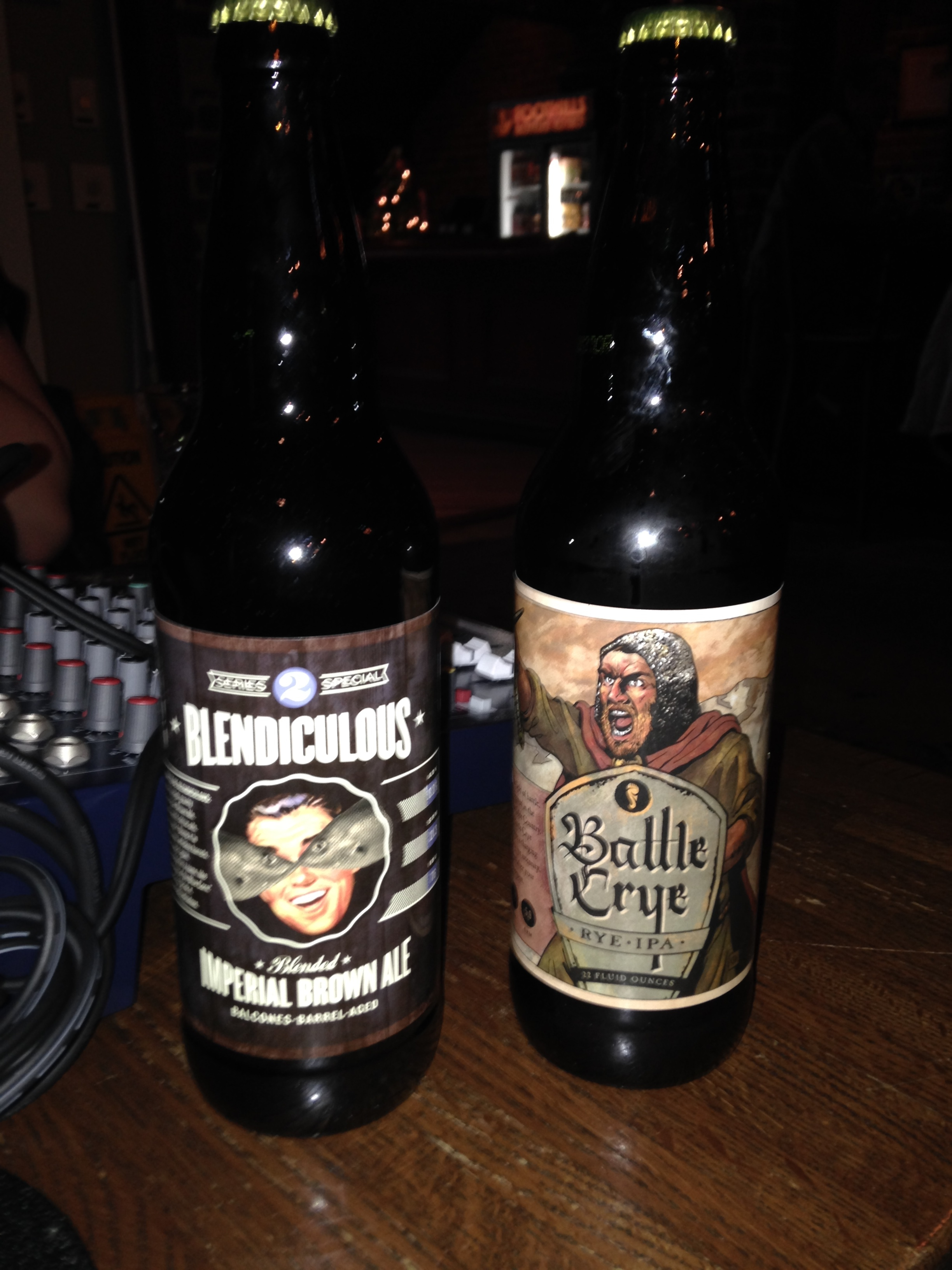 Foothills Brewing, Battle Crye Rye IPA, Blendiculous Imperial Brown Ale